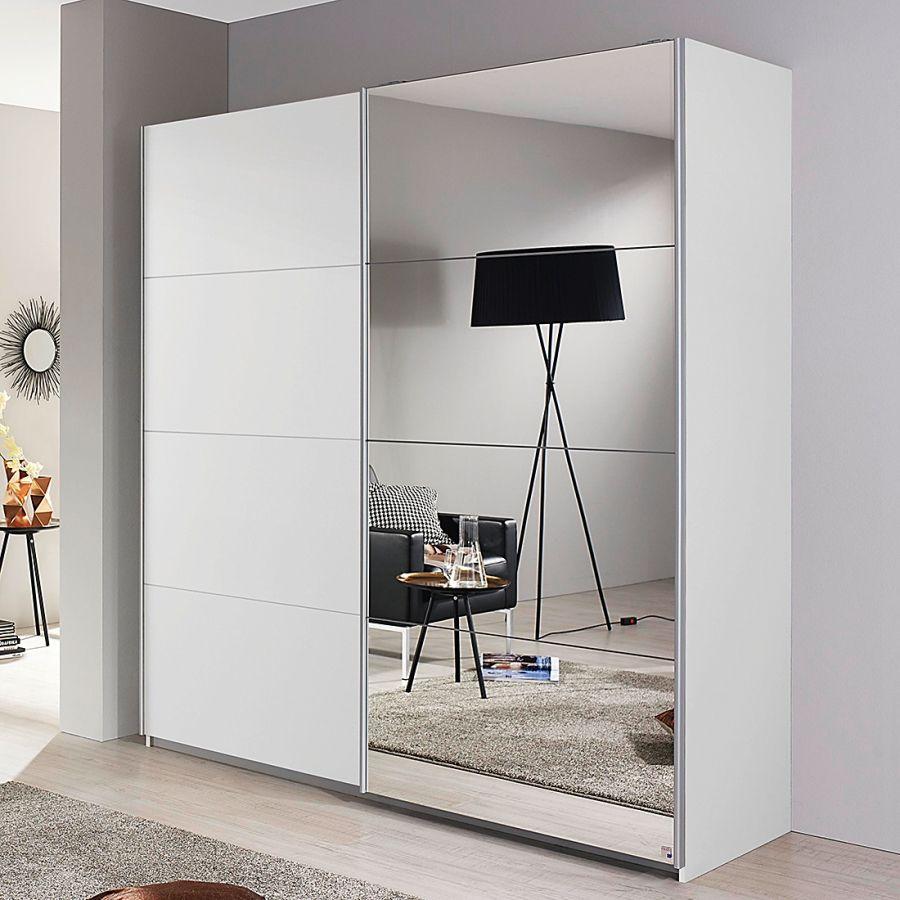 Armoire à Portes Coulissantes Subito Portes Coulissantes Armoires - Porte placard coulissante avec porte intérieure vitrée blanche