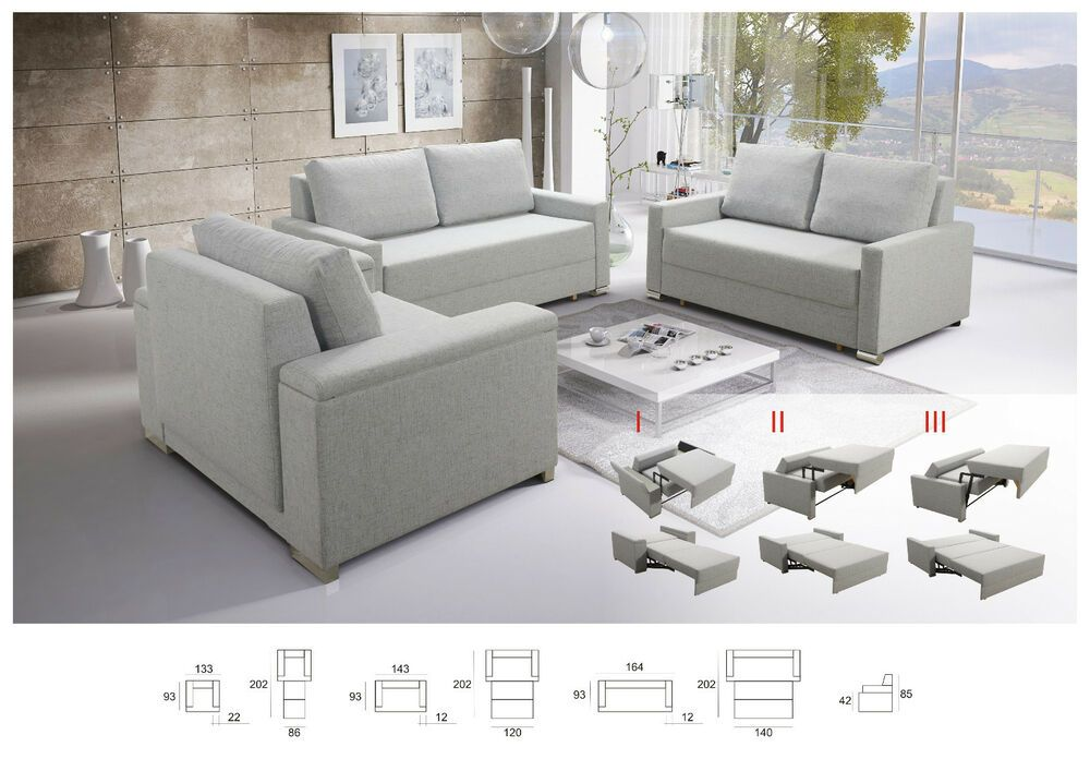 Sofa Set 3 2 1 Buffalo Mit Schlaffunktion Couchgarnitur