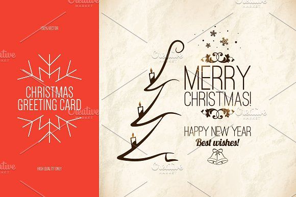Christmas and New Year greeting card @creativework247 Cards - greeting card template