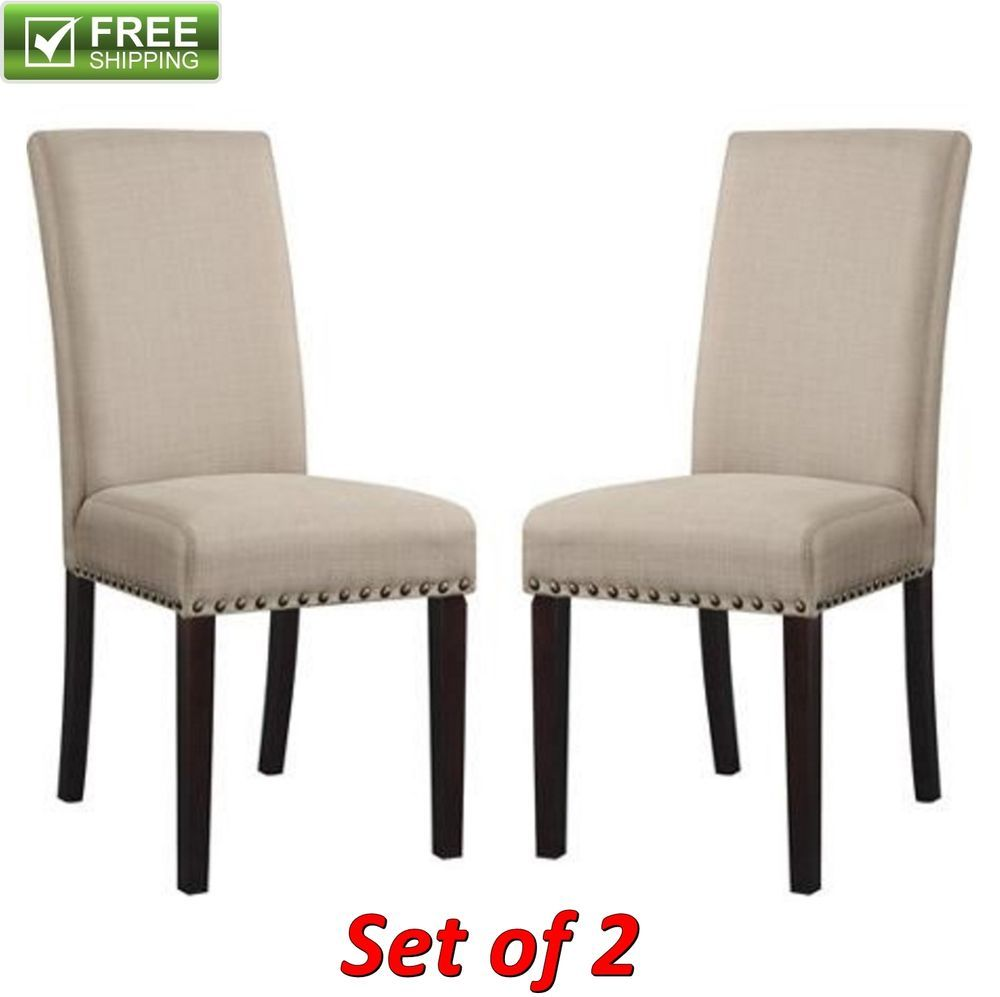 Wondrous Upholstered Dining Chair Wheat Set Of 2 Elegant Fabric Machost Co Dining Chair Design Ideas Machostcouk