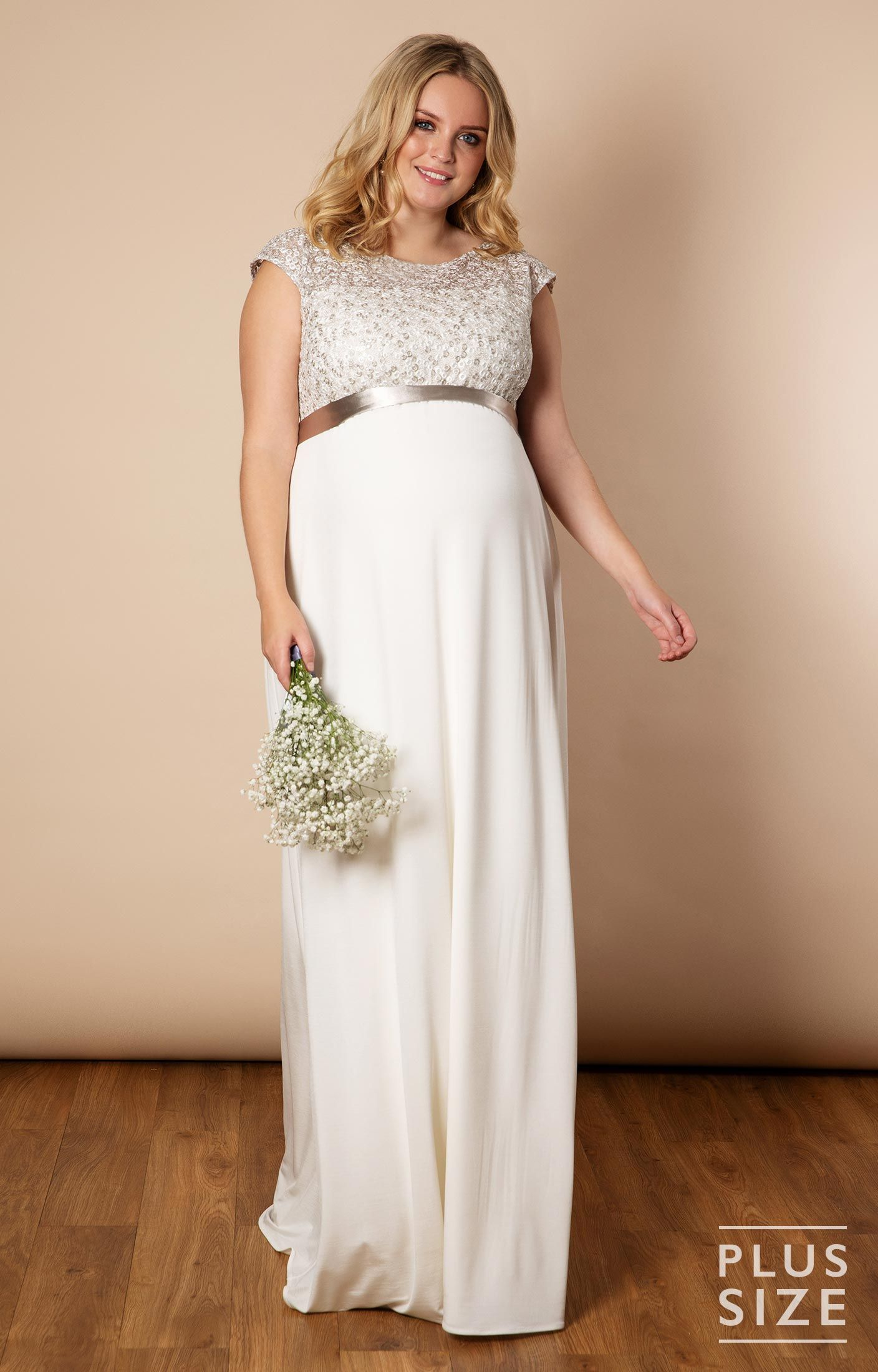Mia Plus Size Maternity Wedding Gown in Ivory - Maternity ...