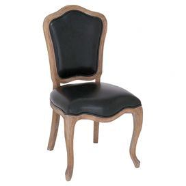 """Add handsome appeal to your dining room or home office with this leather-upholstered side chair, featuring a traditional silhouette and cabriole legs.  Product: ChairConstruction Material: Chinese oak woodColor: Black and brownFeatures: Cabriole legsDimensions: 39"""" H x 21"""" W x 19"""" D"""