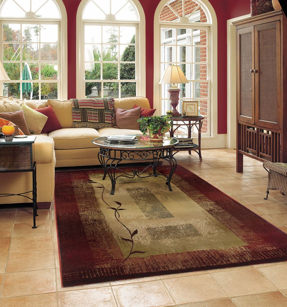 Beautiful Floral Burgundy Cream Rug For Living Room