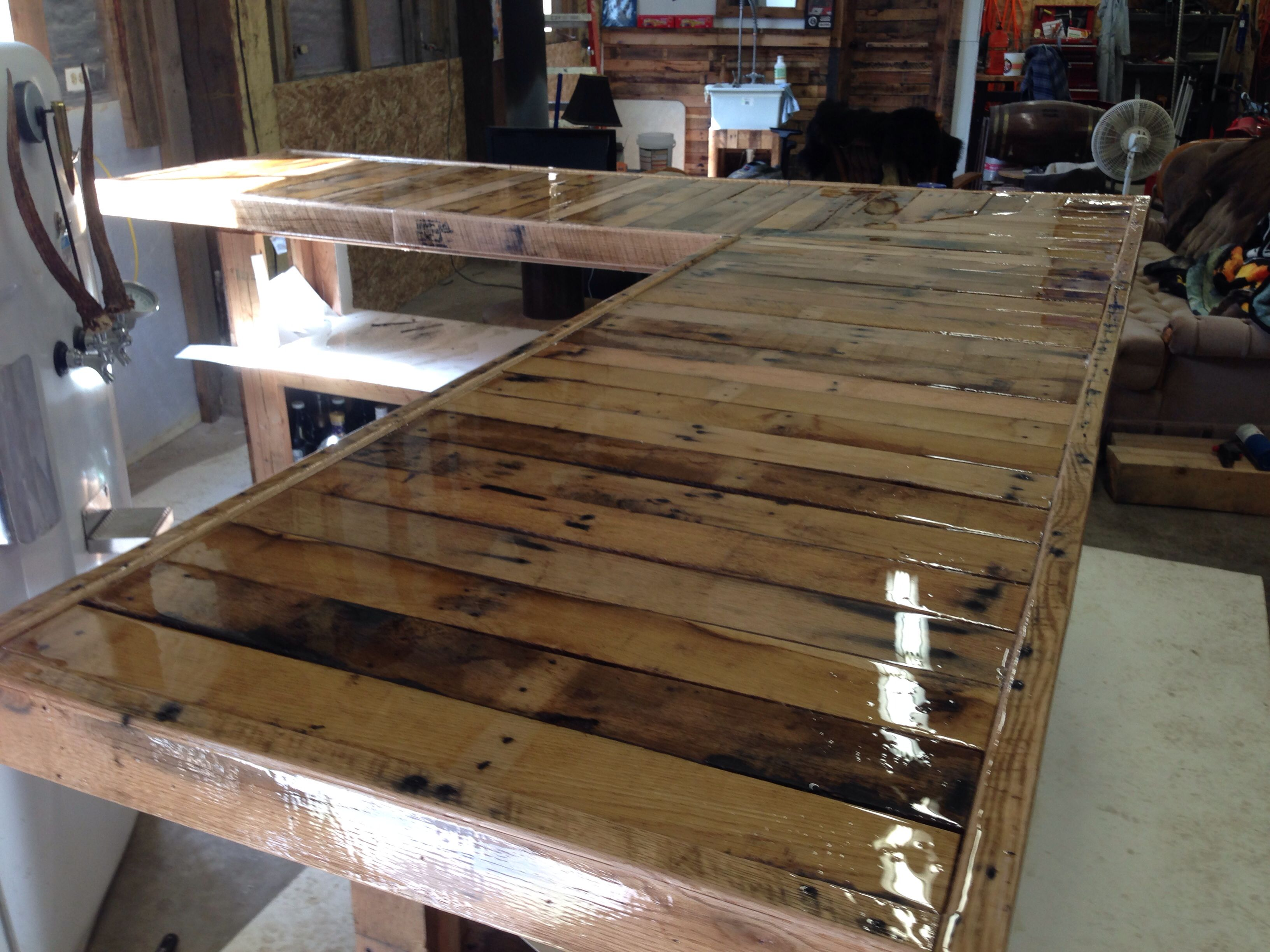 Pin By David Wine On Bar Made From Pallets Diy Wood Countertops