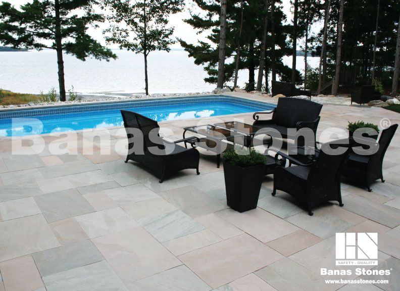 Banas Flint Sandstone Pavers | Backyard pool, Landscaping ...