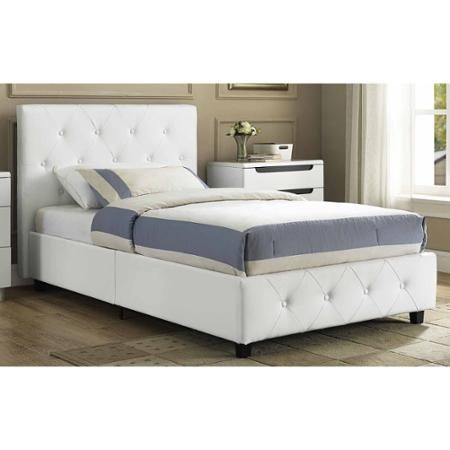 Dakota Faux Leather Upholstered Bed White Multiple Sizes