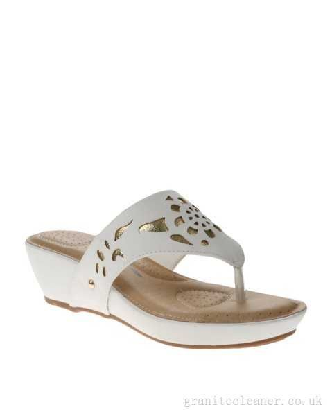 073b85aa6a4f Bata Comfit Cut-Out Wedge Sandals White - Women s Mid Heeled Wedges -  33139332