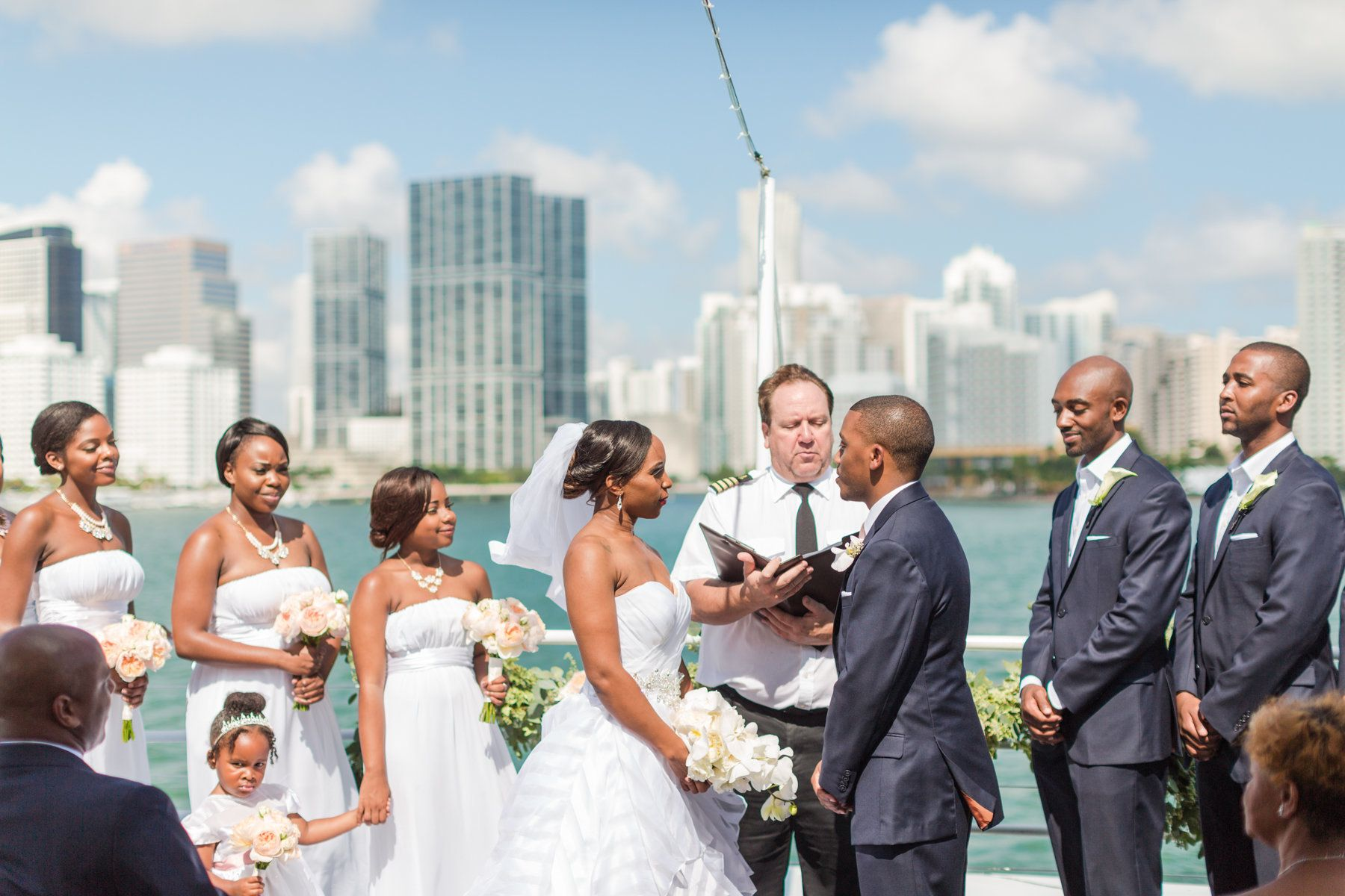 Beautiful Yacht Wedding Ceremony While Cruising The Ocean Around Miami Florida Photo By Amy Hutchinson Photography Destination Planning Bella