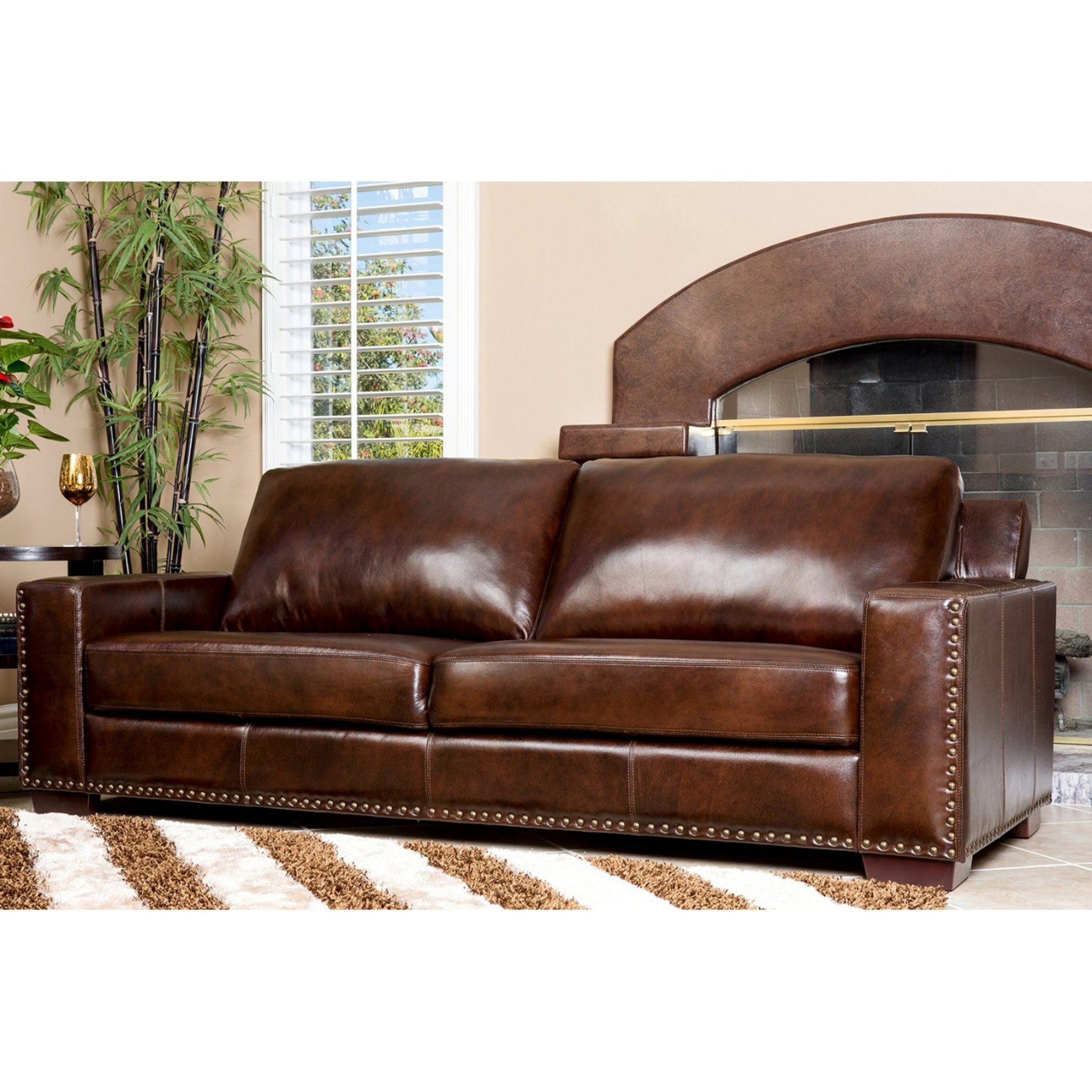 Groovy Abbyson Beverly Hand Rubbed Leather Sofa Brown Sk 9060 Machost Co Dining Chair Design Ideas Machostcouk