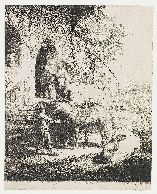 Притча о добром самаритянине (1633) (253 х 202 мм) (офорт). Rembrandt Harmensz van Rijn (1606-1669)