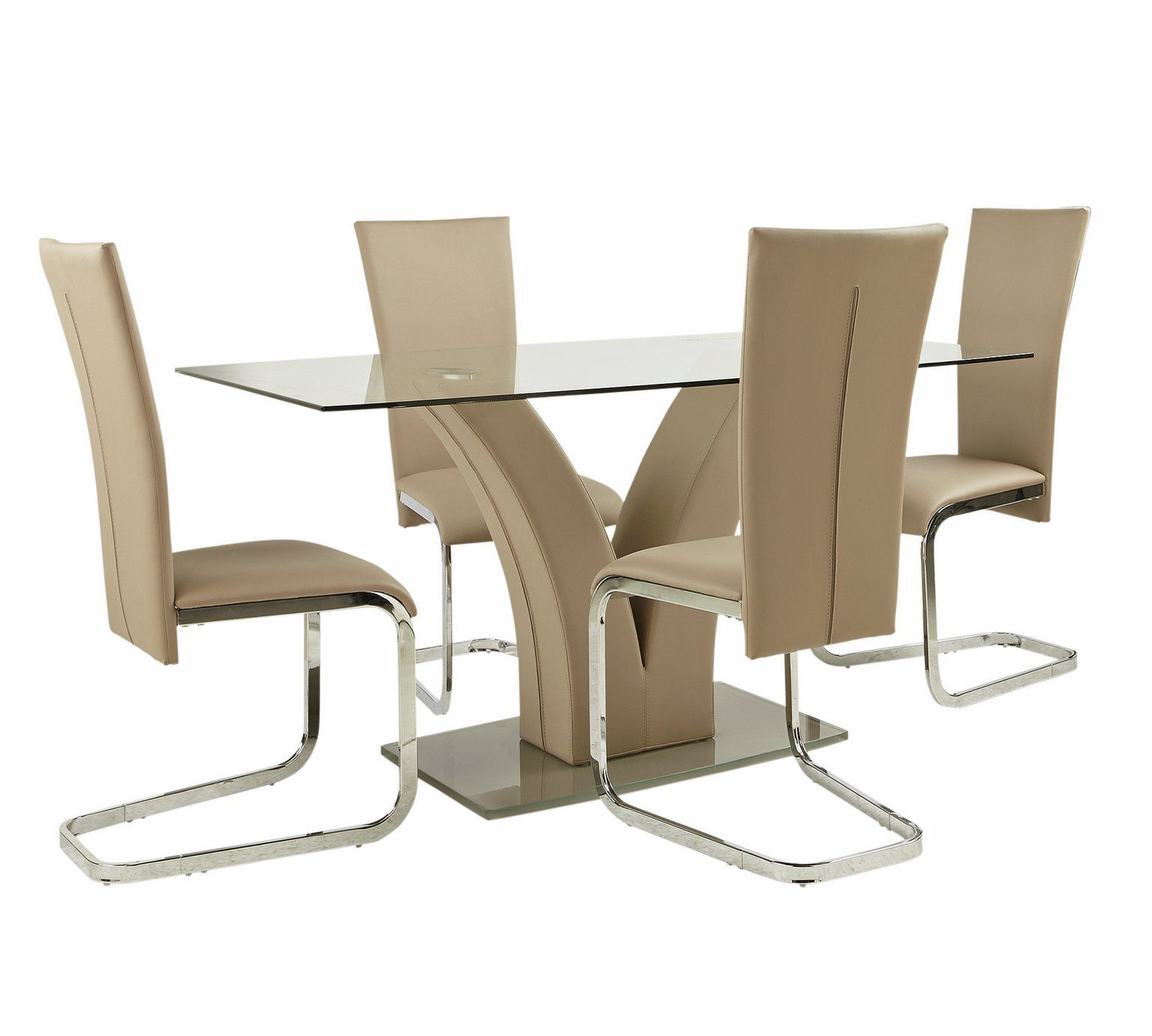 Buy Argos Home Oriana Glass Dining Table & 4 Beige Chairs