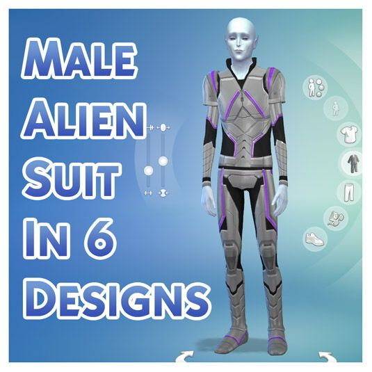 Male Alien Suit in 6 Designs by Menaceman44 at Mod The Sims via Sims 4 Updates