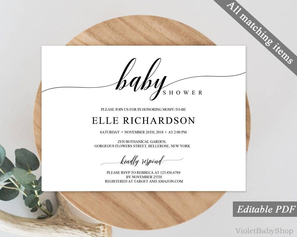 Modern Calligraphy Rustic Baby Shower Invitation Template Printable - Baby shower invitations templates editable boy