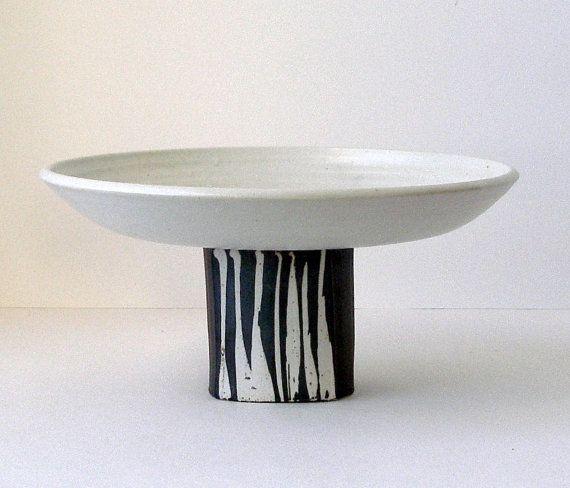 "Vintage CHARLES HALLING 10"" Studio Art Pottery Pedestal PLATE w/ Earthy Aspen Birch Grove Design Handmade & Signed Mn Potter"
