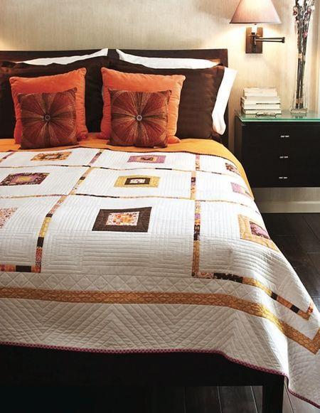 modern quilt. love the color scheme.
