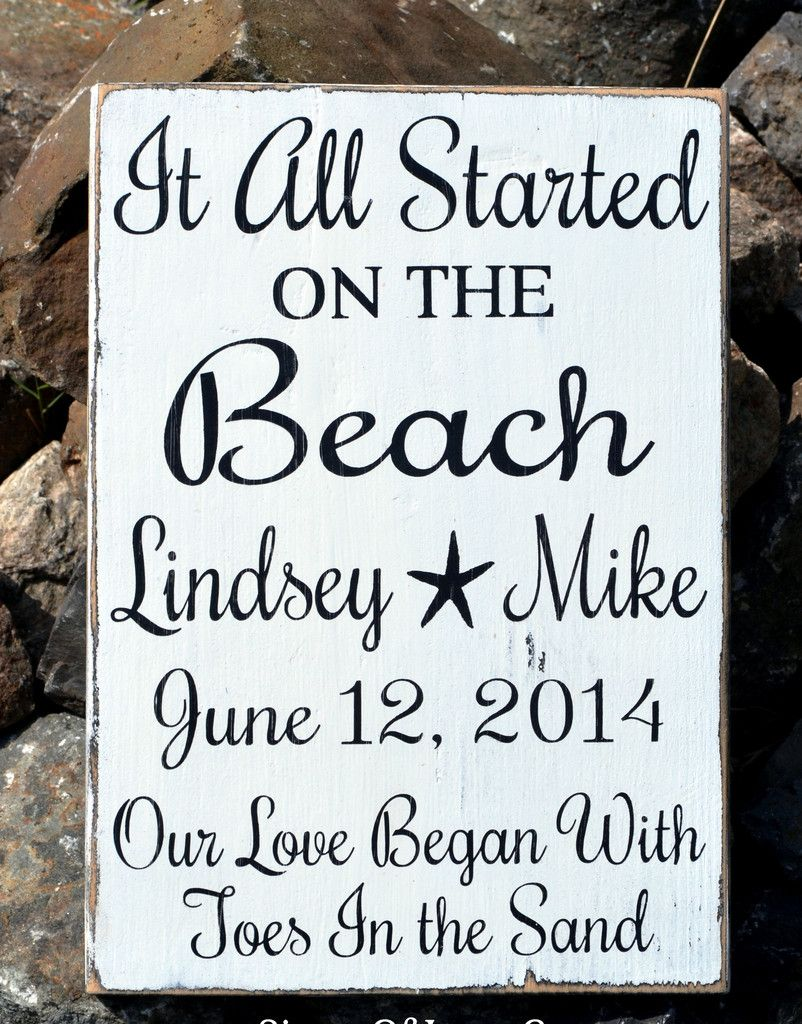 Beach Wedding Sign Handpainted Rustic Decor Couples Anniversary Gift ...