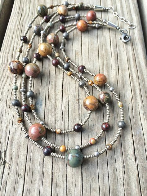 Earthy Beaded Multi Strand Necklace with Red Creek Jasper is part of Beaded jewelry, Multi strand beaded necklace, Handmade jewelry, Fashion jewelry, Jewelry patterns, Homemade jewelry - Three beautiful strands with red creek, Czech glass seed beads, red creek jasper and oxidized silver  Approx 18  in length