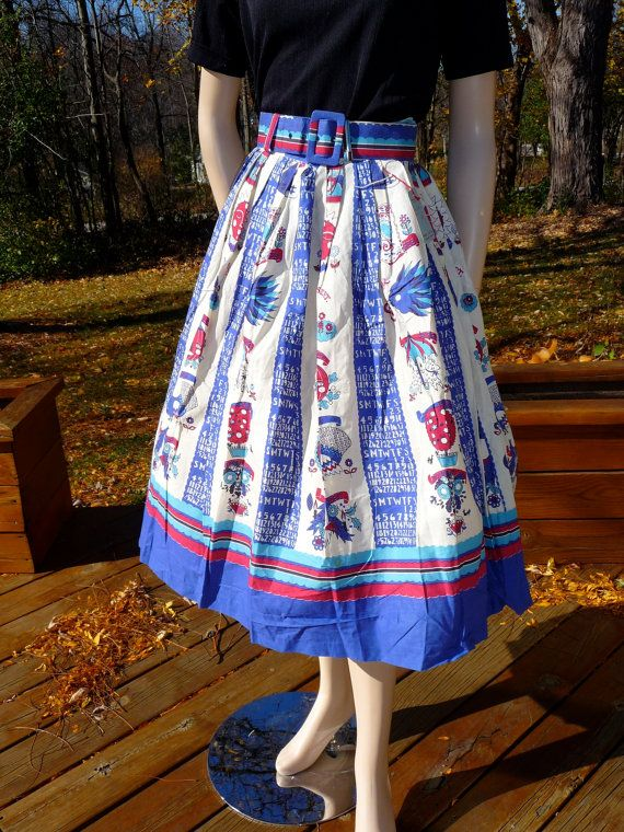 Awesome vintage 1950s calendar novelty print skirt. #vintage #1950s #skirts #fashion