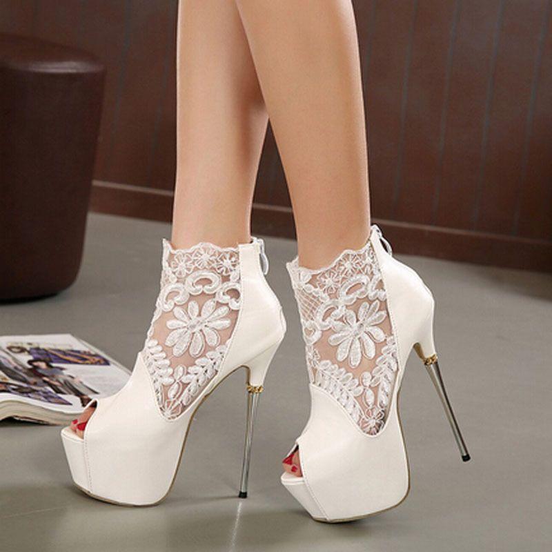 High-Heels-White-Stiletto-Shoes-Women-Platform-Open-Toe-Summer ...