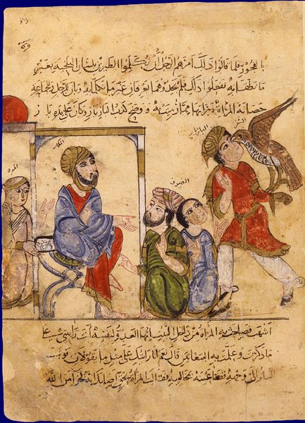 Medieval Bestiary, 13th century Arabic Falconer. Note crossover coat open on seated man, and crossover coat on kneeling man in the green.