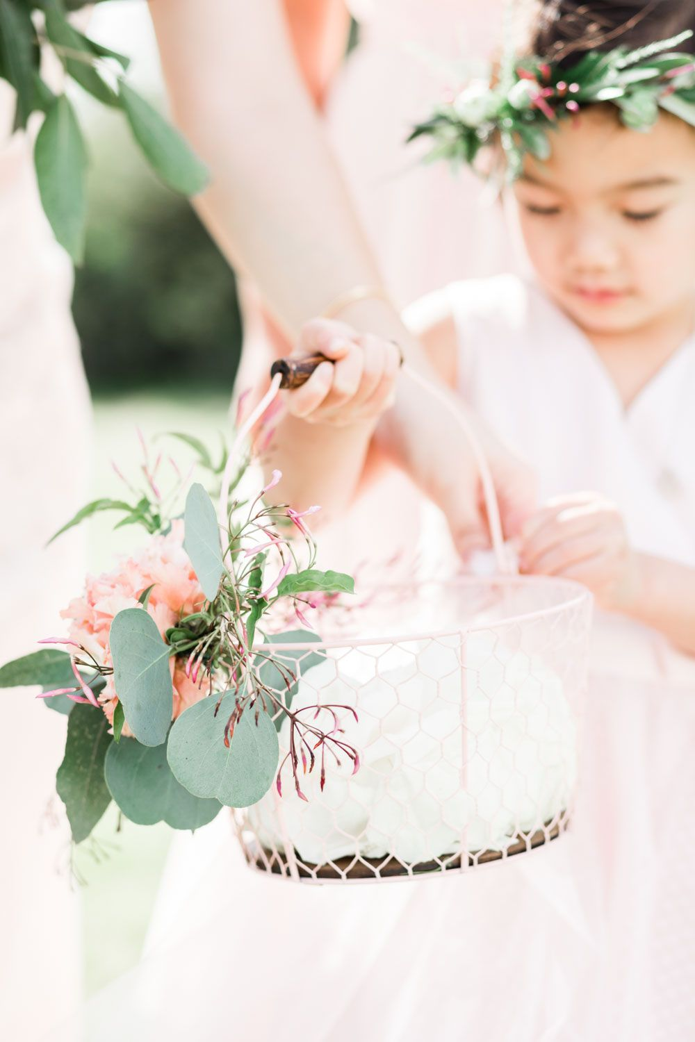 2295b1724f Flower girl basket with decorative floral and petals eucalyptus