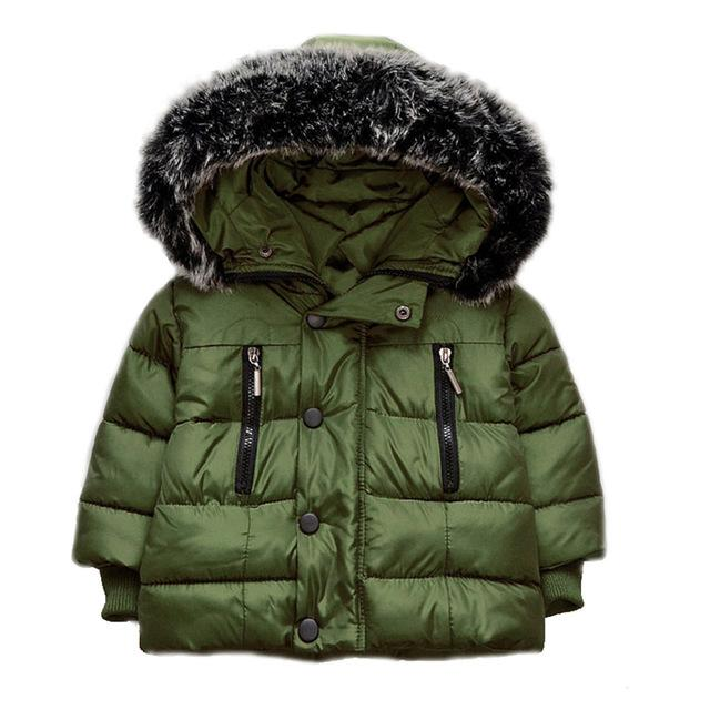 Kids Thick Jackets Fur Hooded Overcoats Boys Girls Coat Cotton Padded Down Parka