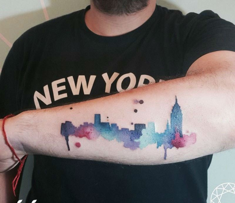 20 Magnificent Skyline Tattoos Iris Tattoo New York Tattoo