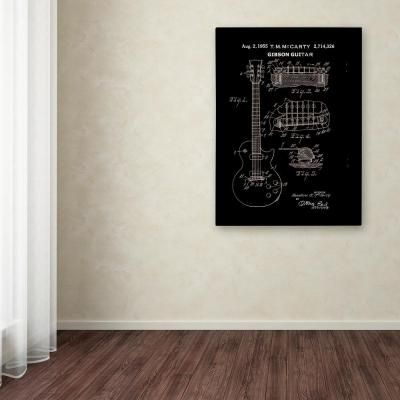 Trademark Fine Art 24 in. x 18 in. 1955 McCarty Gibson Guitar Patent by Claire Doherty Printed Canvas Wall Art, Multi #gibsonguitars