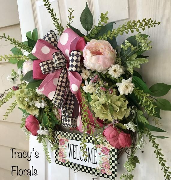 Daisy Flowers Welcome Metal Door Wreath Wall Hanging Easter Spring Floral Decor