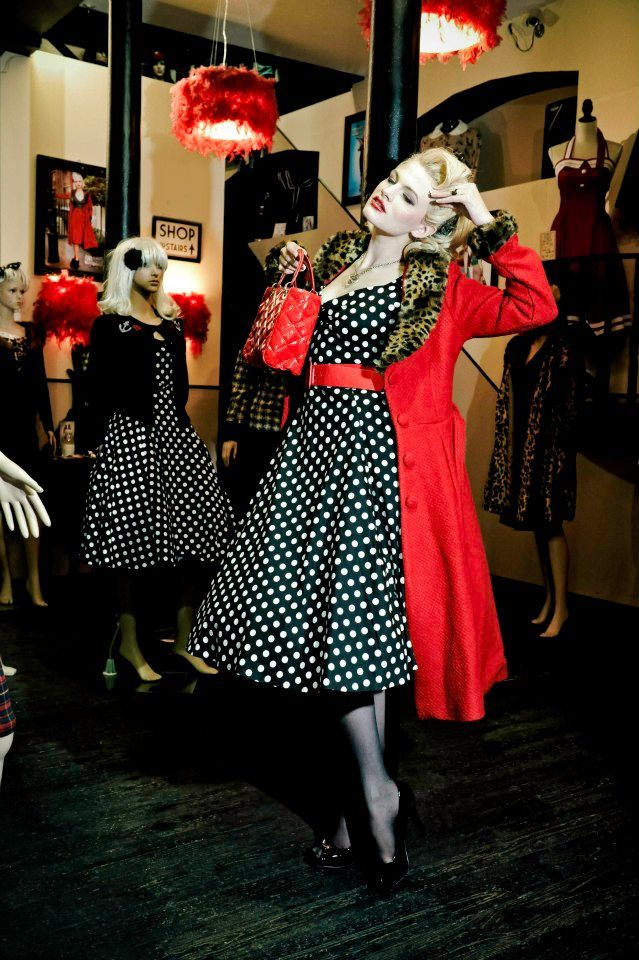 Polka Dot Swing with Red Trench, love! Joanna Krause Photography