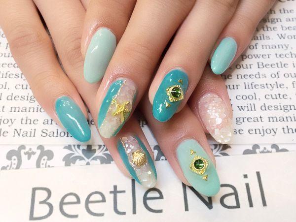 Nail Art - Beetle Nail : 八幡|クラッシュシェル