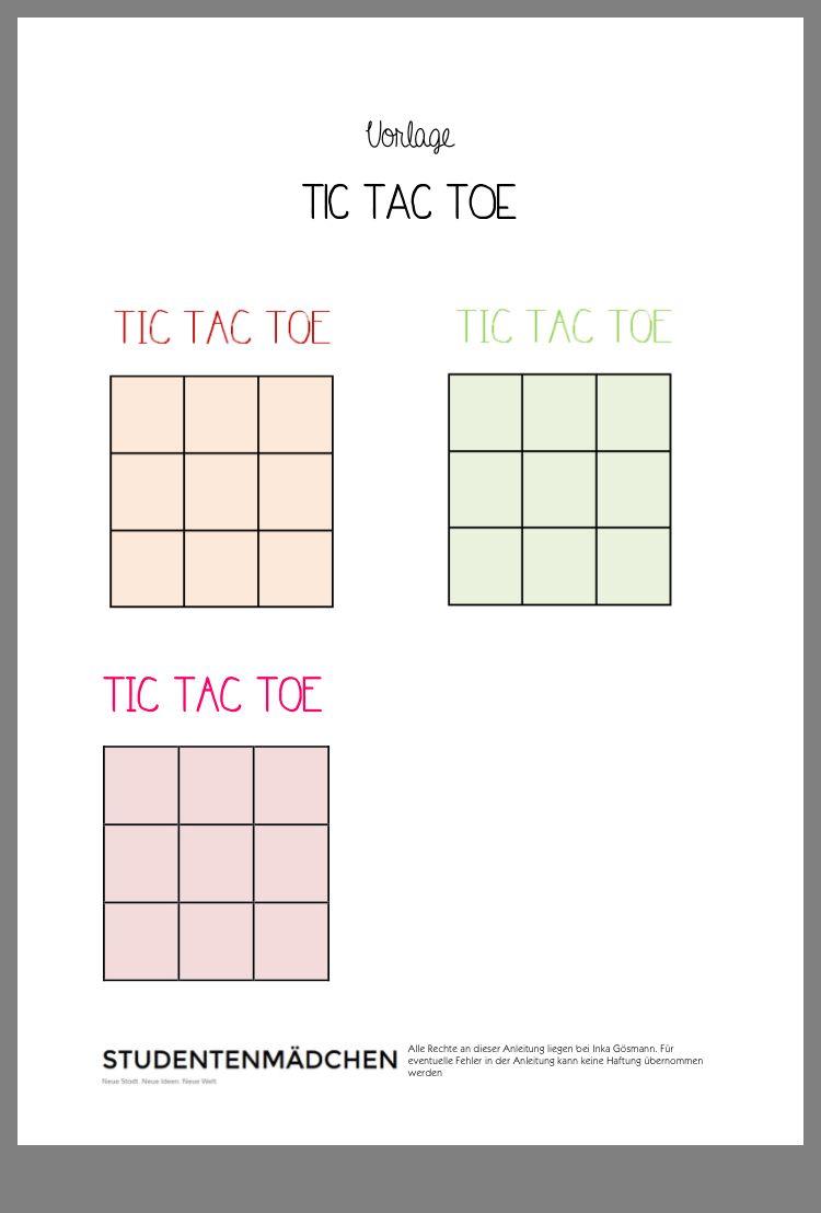Tic Tac Toe Vorlage