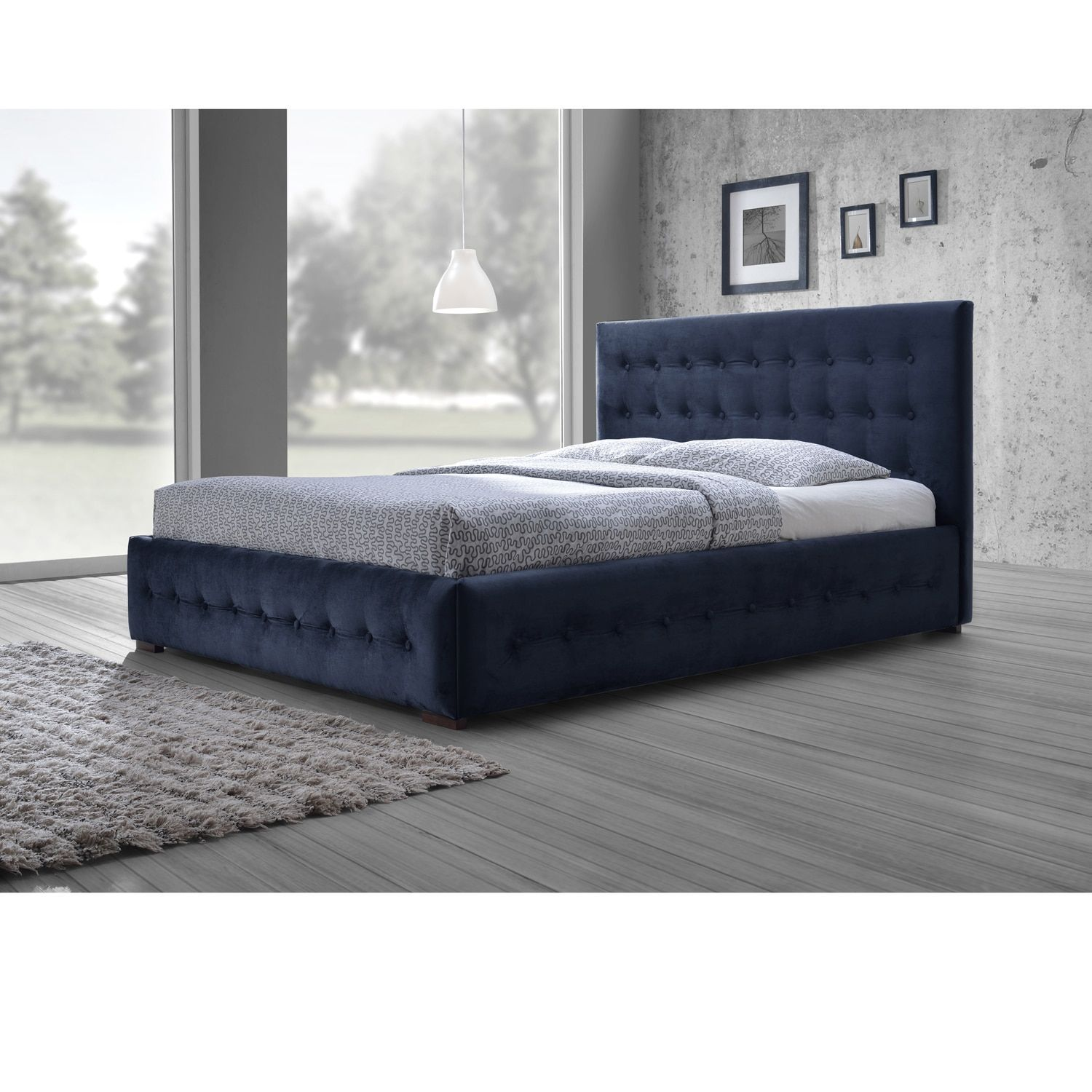 Baxton studio modern and contemporary navy blue velvet fabric button tufted queen platform bed queen size bed blue