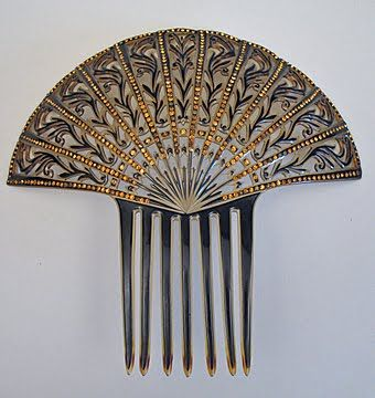 Edwardian Celluloid Comb in Black & Gold with Rhinestones