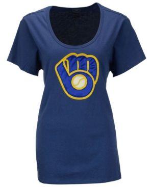 '47 Brand Women's Milwaukee Brewers Relaxed T-Shirt - Blue M