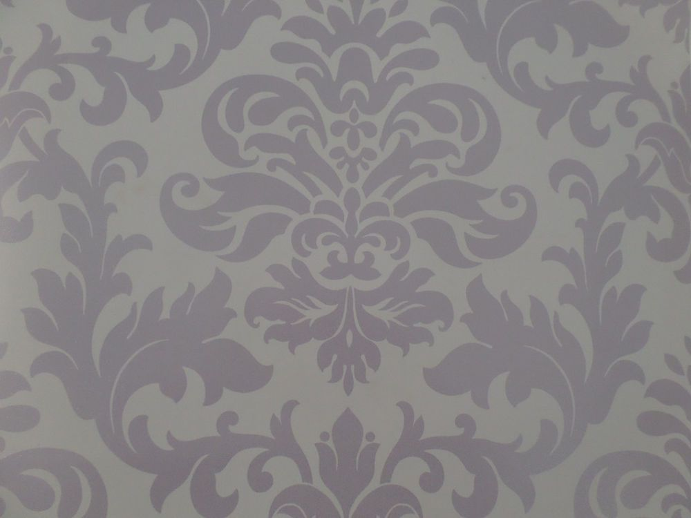 Lilac purple shades damask pattern designer feature - Purple feature wall living room ideas ...