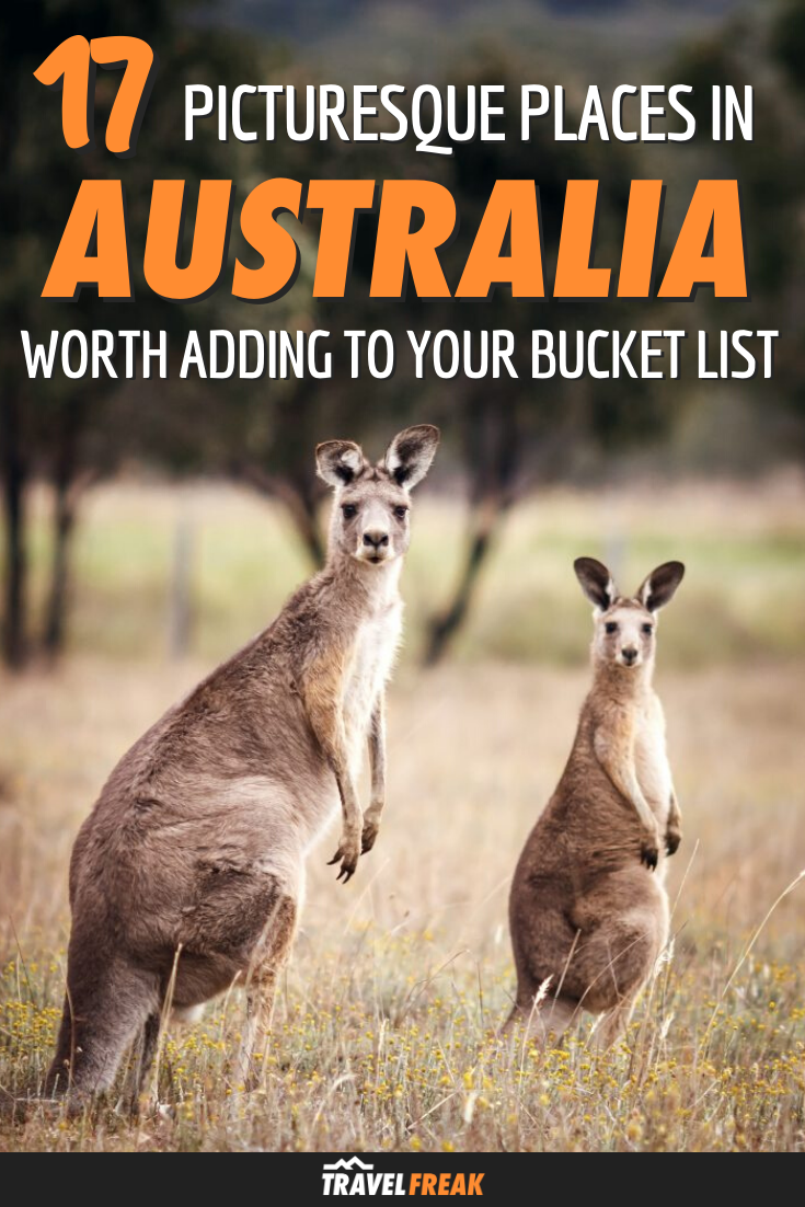 A complete guide to 17 of the most picturesque places to visit in Australia. The Land Down Under has no shortage of beautiful beaches, sweeping deserts, dense forests, and endless valleys, in places like Melbourne, the Outback, Tasmania, and more. | TravelFREAK Adventure Travel Blog #Travel #Australia #AustraliaTrip | travel destinations australia | australia travel tips | australia trip | australia traveling | travel to australia