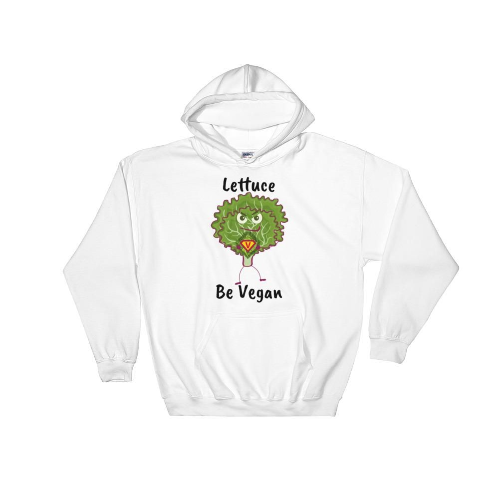 'Lettuce Be Vegan' Premium Unisex Hoodie - White / S