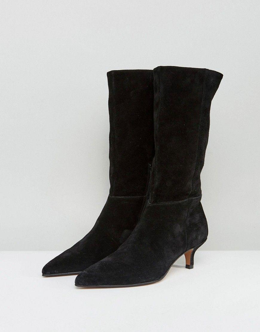 Asos Carlita Suede Kitten Heel Knee Boots Black Boots Heels Knee Boots