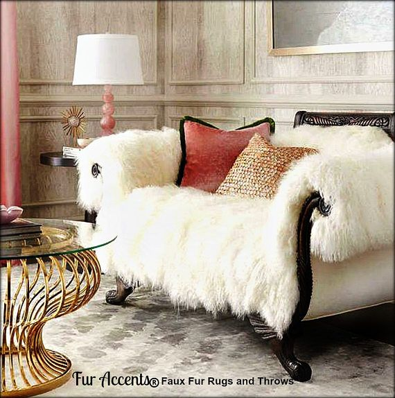 Shaggy Mongolian Sheepskin Throw Sofa Cover Chair Cover Etsy Interior Design Decor Furniture