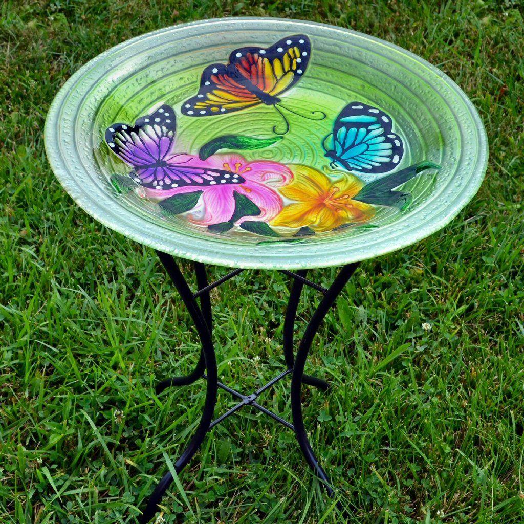 Butterflies Glass Bird Bath W Stand Bird Bath Glass Bird Bath Glass Birds