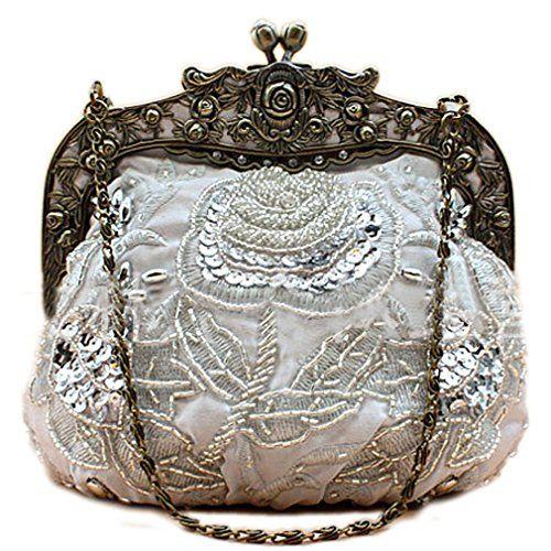 Belsen Women's Vintage Beaded Sequin Flower Evening Handbags (Silver)