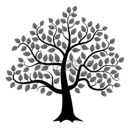 Arboles Blanco Y Negro Silueta Del árbol Negro Sobre Fondo Blanco