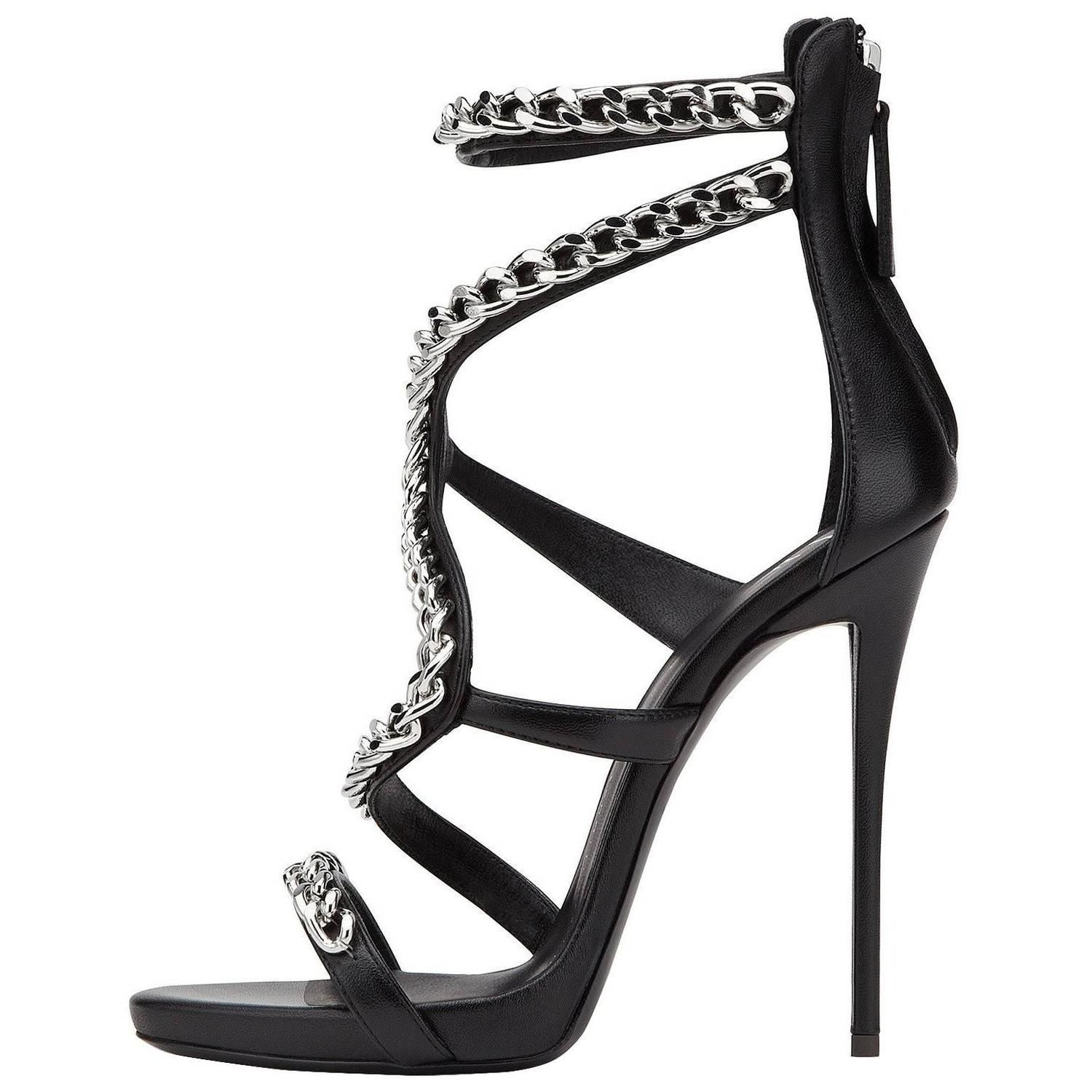 Gisuseppe Zanotti New Sold Out Black Leather Silver Chain Sandals Heels in Box