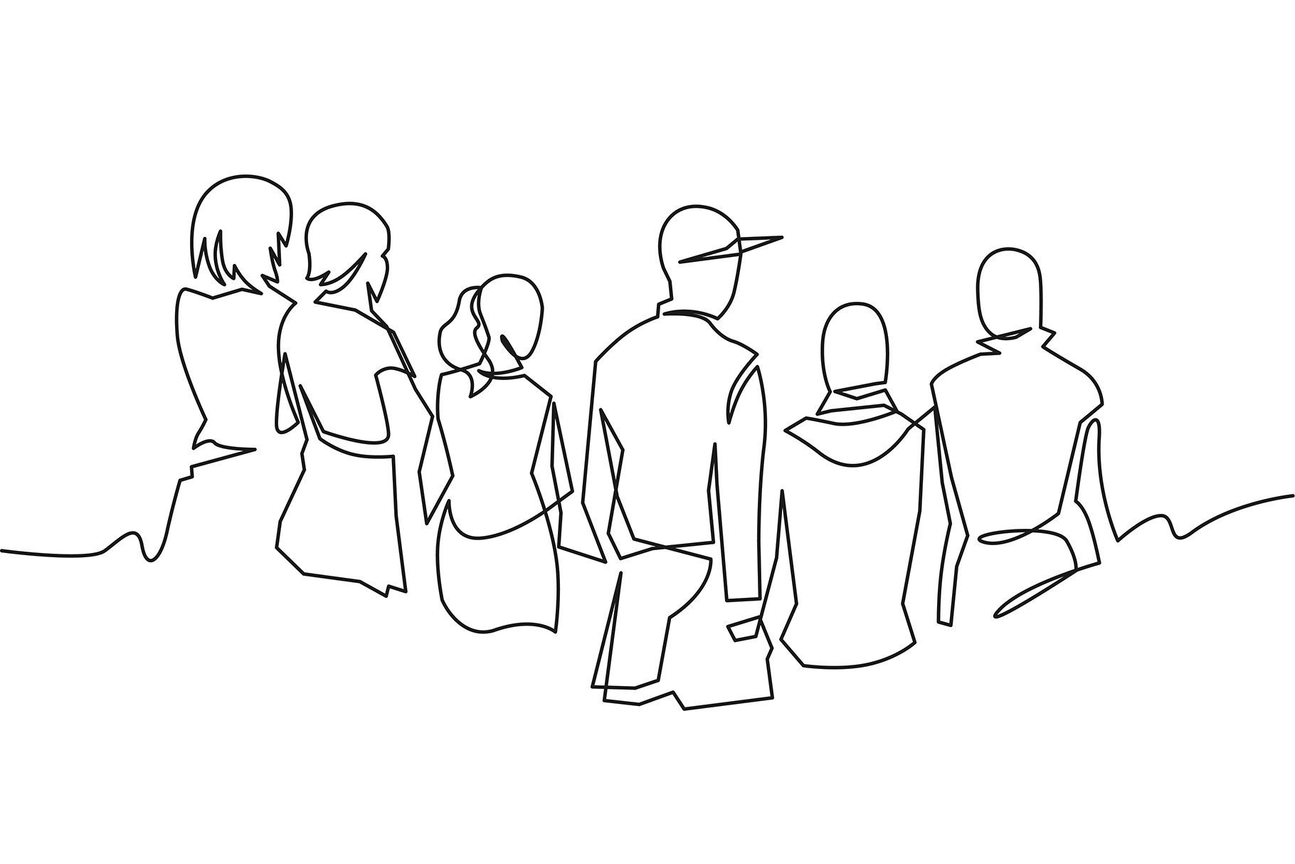 Group Of People Continuous One Line Friends Sketch Line Art Drawings Abstract Line Art