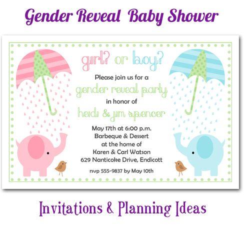 Elephant Theme Gender Reveal Baby Shower Invitations Planning