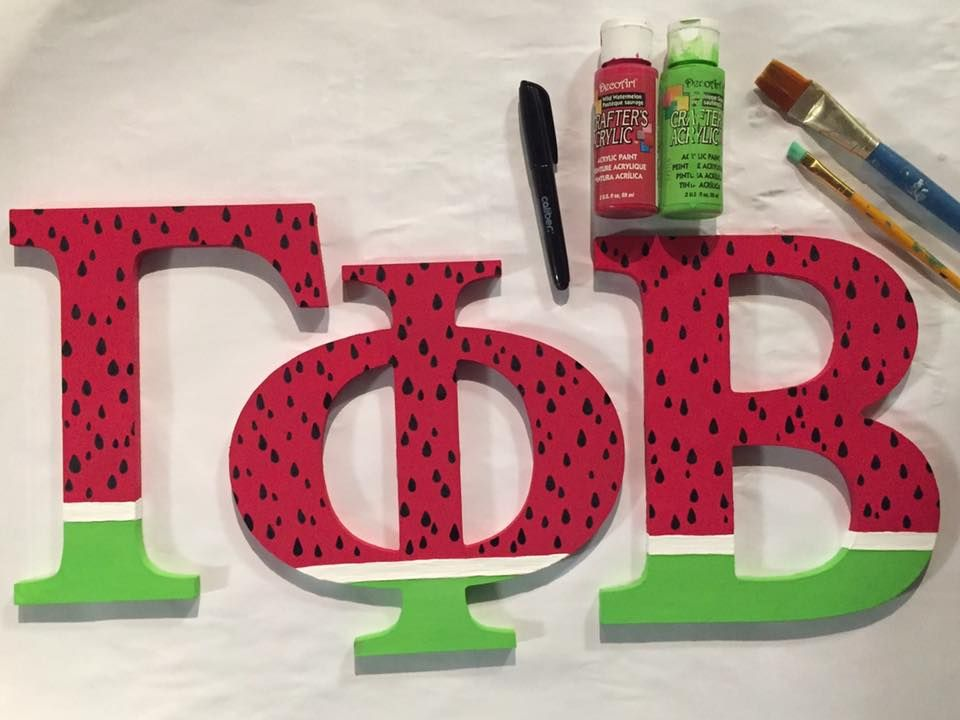 gamma phi beta sorority wooden greek letters watermelon summer