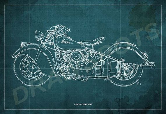 Indian chief 1948 blueprint art print 12x8 in and larger sizes indian chief 1948 blueprint art print 12x8 in and larger sizes original handmade drawing digitally printed on 230gr archival matte paper malvernweather Choice Image