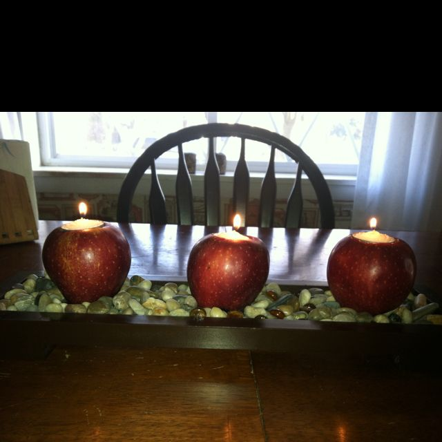had soft apples so for dinner i cut a whole out to fit a tea light candle to fit perfectly! big hit that night!