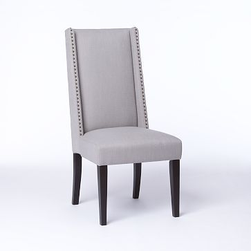 West Elm Willoughby Nailhead Dining Chair Basketweave Putty Gray